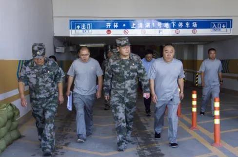 鹿邑县武装部领导调研指导人防及人防工程防汛工作