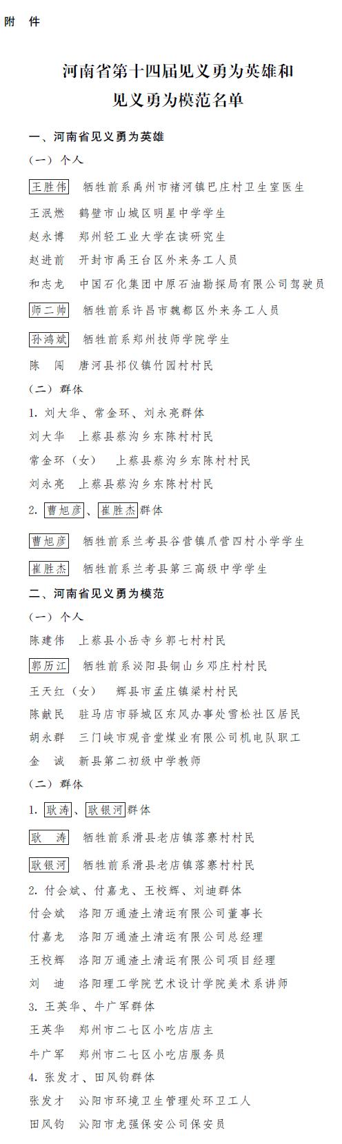 河南省人民政府关于表彰河南省第十四届见义勇为英雄和见义勇为模范的决定