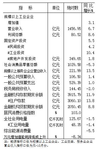 2020年元-11月份全市主要经济指标