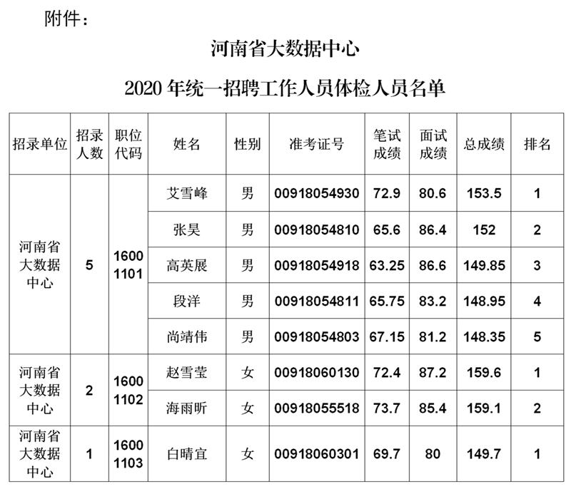 河南省大数据中心2020年统一招聘工作人员体检公告