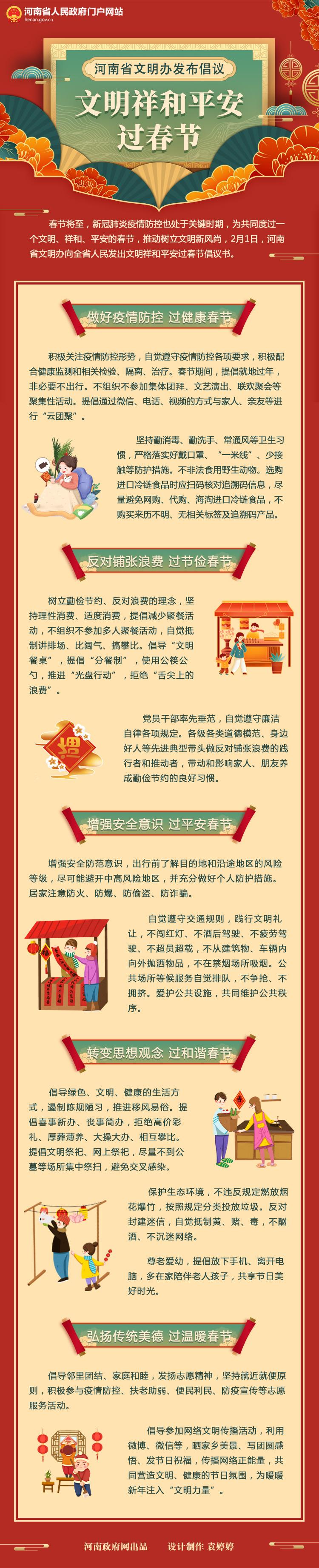 图解:河南省文明办发布倡议 文明祥和平安过春节