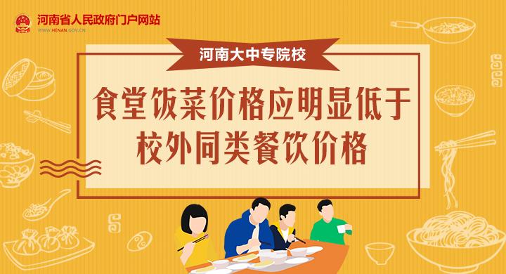 圖解:河南大中專院校食堂飯菜價格應明顯低于校外同類餐飲價格