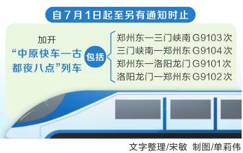 7月1日起全国铁路实施新图 途经河南多对列车变动