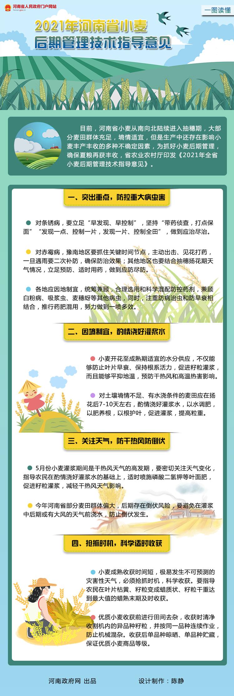 一图读懂:2021年河南省小麦后期管理技术指导意见