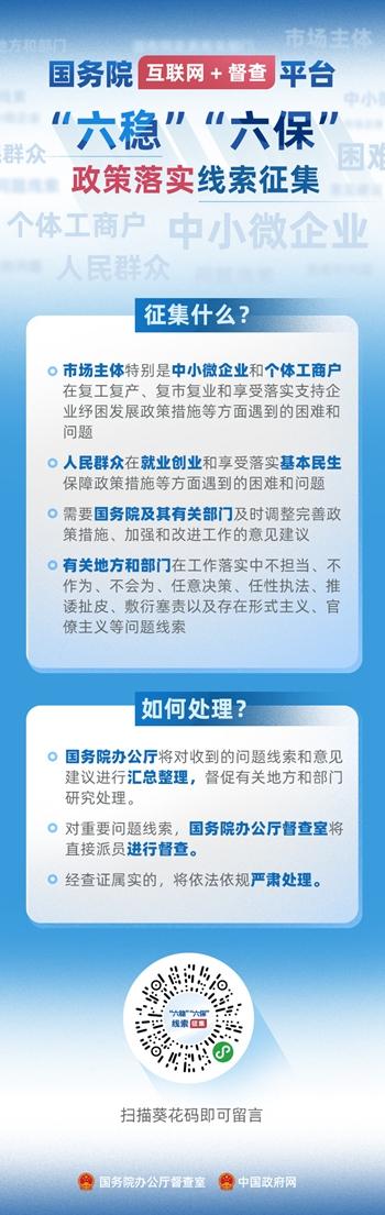 """国务院""""互联网+督查""""平台公开征集关于""""六稳""""""""六保""""政策措施落实的问题线索和意见建议"""
