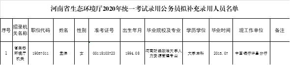 河南省生态环境厅2020年统一考试录用公务员拟补充录用人员公示