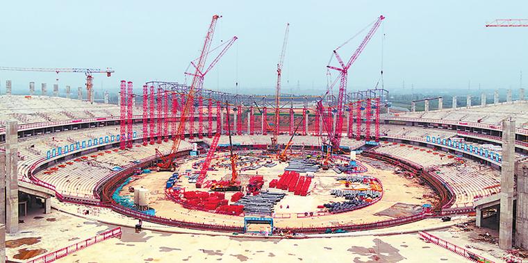 洛阳奥林匹克中心项目正在紧张施工
