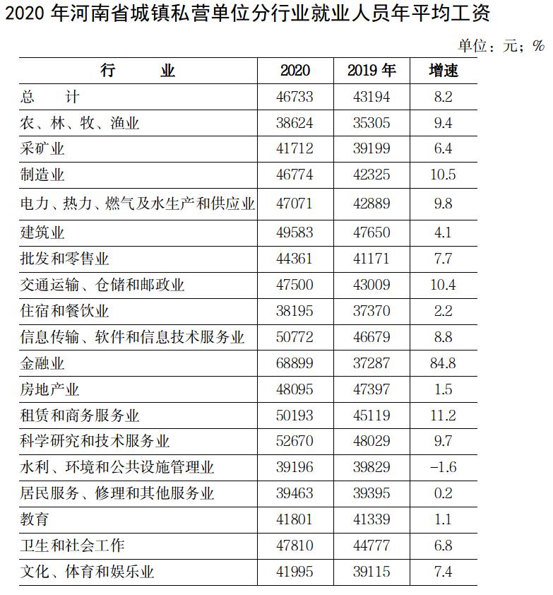 2020年河南省城镇私营单位就业人员 年平均工资46733元