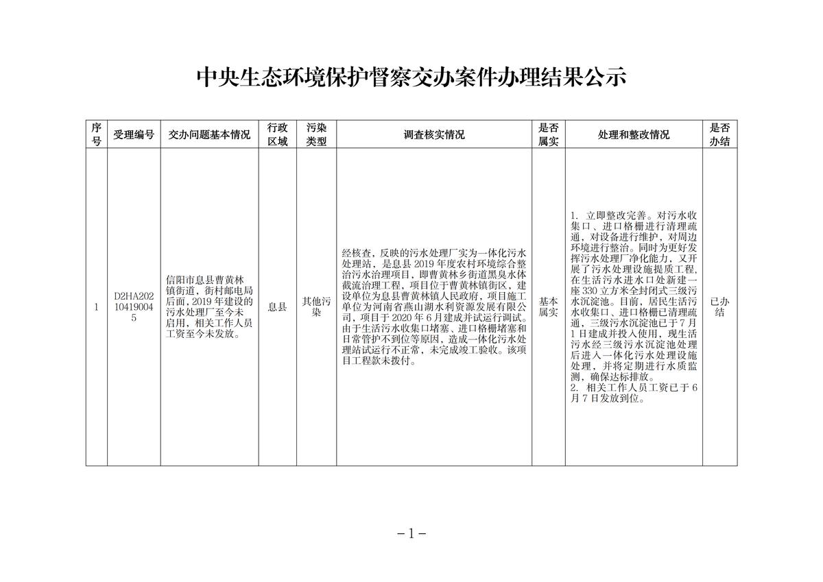 中央生态环境保护督察交办案件办理结果公示(息县1件)_00.png
