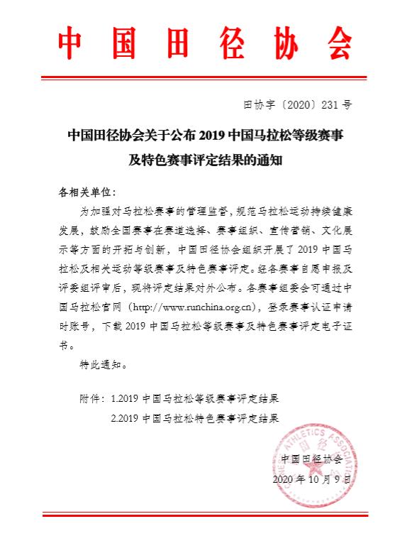 2019中国马拉松等级赛事及特色赛事评定结果出炉