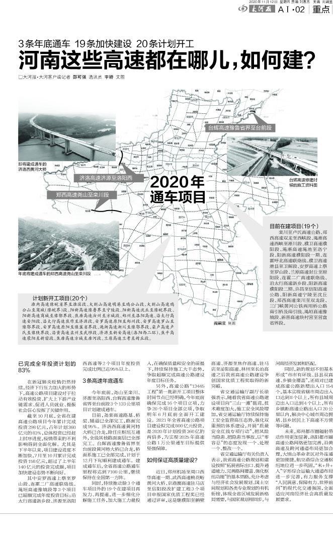 [大河报]河南这些高速都在哪儿,如何建?