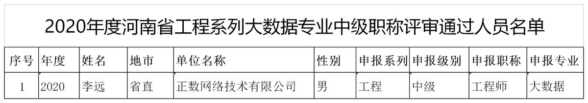 关于2020年度河南省工程系列大数据专业中级职称评审通过人员名单的公示